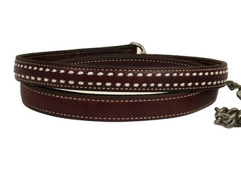 Horse Leather Lead with Buckstitch
