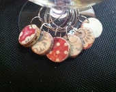 Cork Wine Charms Upcycled and Repurposed Dusty Red, Sage Green and White Floral and Polka Dot designs Drink Rings Tags