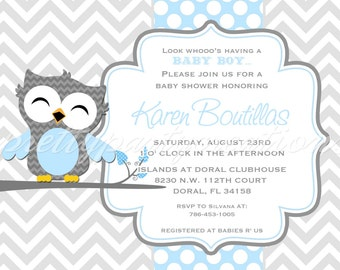 Mod BLUE & GREY OWL invitation - You Print - 5 to choose for birthday or baby shower