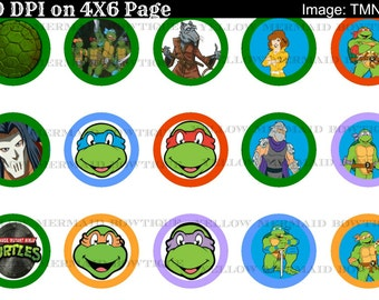 Buy one get FOUR FREE TMNT Ninja Turtles 1 Inch Bottlecap Images 4x6 Sheet