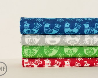 Fat Quarter Bundle Folk Art Holiday Birds, 4 Pieces, Gina Martin, 100% Cotton, Moda Fabrics, 10021