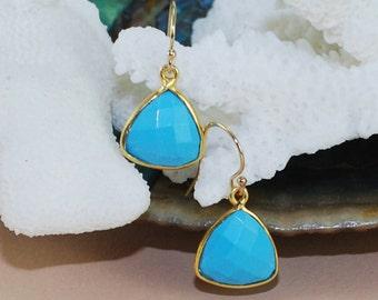 Turquoise Earrings, Gold Earrings, Drop Earrings, Bezel Gemstone Earrings, Birthstone Jewelry