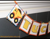 Dump Truck, Construction Party, Personalized Name Banner