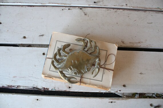 Vintage brass crab door knocker nautical decor - Nautical door knockers ...