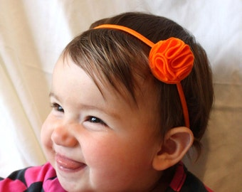 Orange Headband - Baby Headband - Headband for Babies / Toddlers - Orange Felt Flower - Baby Hairband