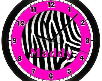 Personalized Zebra Print Wall Clock Hot Pink and Black