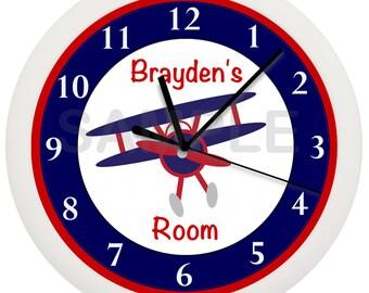 Airplane Nursery PERSONALIZED Wall Clock