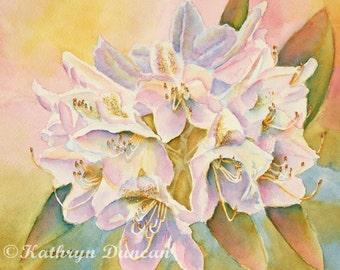 Rhododendron Flowers Original Watercolor Painting matted to 11x14, violet, pink, blue, yellow, green