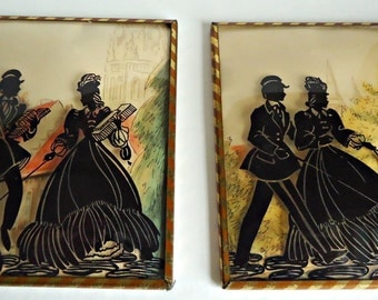 2 Vintage Silhouette Reverse Painting on Glass Colonial Couple and Dog 1940's