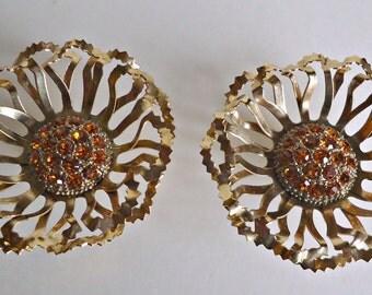 Vintage Amber Rhinestone Earrings Costume Clip On Big