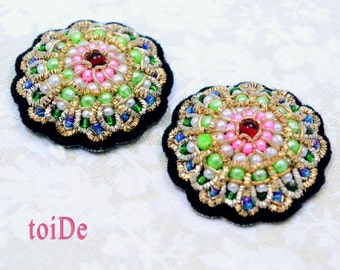 Colorful Flower applique patch - 2 Sew On Indian Beaded Applique - Multi color