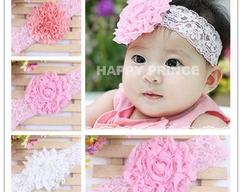 Set of 3 lace headbands, baby lace headband set, baby head band set, wide lace headbands, head bands for babies 3 colors to choose