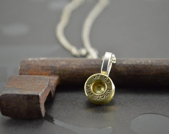 Bullet Shell Casing 9MM with JONQUIL Swarovski Gem Pendant Necklace