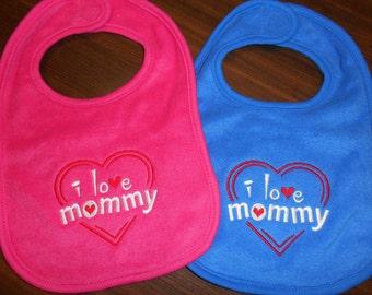 I Love Mommy Bib Embroidered Baby Boy Baby Girl Newborn Baby Teething Toddler Baby Shower Gift