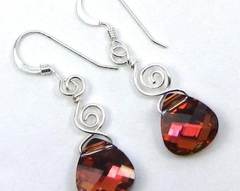 Whimsical Light Rose Volcano Swarovski Briolette Earrings