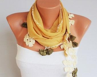 SUMMER SCARF -Caramel Turkish oya scarf ,  turkish yemeni ,hand crocheted lace border scarf