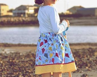 Blue  Flying Kites  Skirt   ( 2T, 3T, 4T, 5, 6, 7)