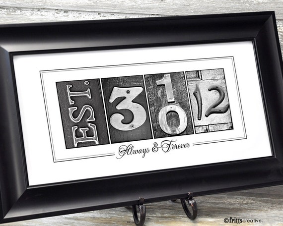 Personalized Date Number Photo Art 10x20 Print UNFRAMED, frame your date, photo numbers and date, wedding gift