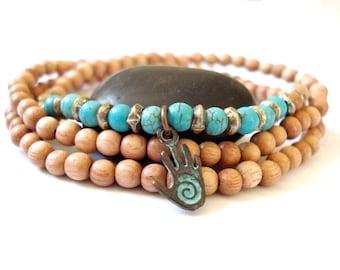 Mala Bracelet, Rosewood Mala Beads, Turquoise, Copper Charm, Triple Wrap Bracelet, Yoga or Meditation