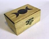 Wood burned Goddess crystal box