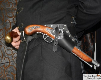Pirate universal leather flintlock holster with belt option, renaissance, medieval