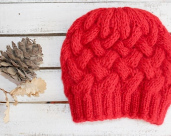 FREE SHIPPING.....Red  Beanie Hat , Oversized hat , Gray knit hat women , Red beanie women - Valentine's Day - Love - Romantic