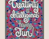 8x10-in Albert Einstein Quote Illustration Print.
