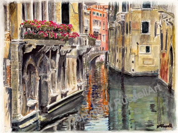 Reflections of Venice - Watercolor Landscape LARGE A4 A3 or A2 Limited Edition Art Print Italy Italian watercolour by RussellArt