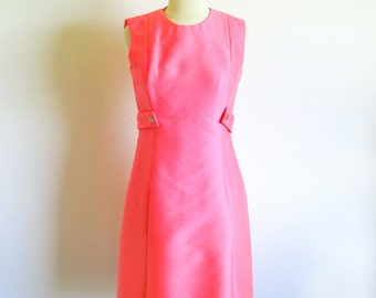 Vintage 60s Hot Pink Mod Silk Dress