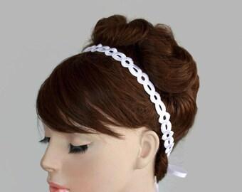 White Eyelet Lace Trim Ribbon Bridal Tie Headband, Weddings Head Piece  Tiara.