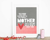 Mothers Day Gift Heart Love Typography Art Poster Great Mom Digital Art Print Inspirational Mother Pink Gray Red Morrocan Tile Pattern