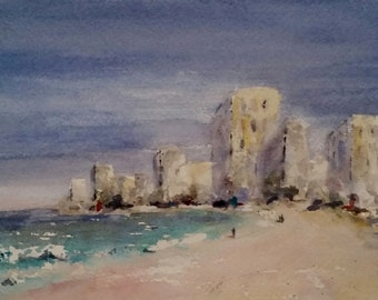 "beach, sand, island, seascape, shore, tropical art, ocean. Beachscape 5. original watercolor painting (6"" x 6"")"