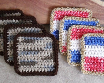 Square Crochet Mug Rugs in Cotton browns+ red white blue - Set of 4 (choose 1 set)