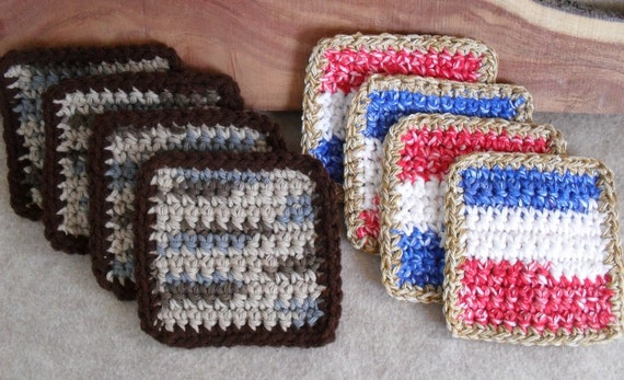Little Mug Rugs Square Crochet Cotton browns+ red white blue - Set of 4 (choose 1 set)