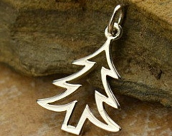 Tree - Sterling Silver Cutout Christmas Tree, Christmas Tree Charm, Pine Tree, Holiday Charms