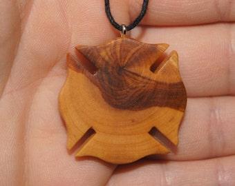 Olive Wood Pendant, wood jewelry, FD maltese cross