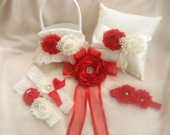 Christmas Flower Girl Basket, Ring Bearer Pillow, Valentine's Day Wedding Ring Pillow Red and Ivory or White