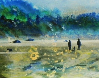 "Walking at Low Tide, Oregon. Ceramic Tile, 10"" x 8"".  Free shipping in U.S."