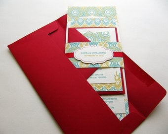 Wedding Invitation, Indian Wedding Invitation, Henna Wedding invitation, Indian Red and Teal Invitation – SAMPLE