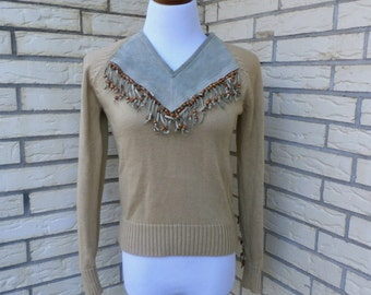 1980s Cowgirl Sweater Country Western Bibbed Fringe Tan Miller Womens Vintage Medium