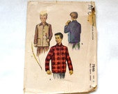 Vintage 1940s Sewing Pattern Boys Sports Jacket Size 4 McCalls 7846 Zippered Outdoor Jacket Coat
