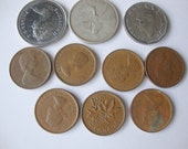 Canadian Coins,  Lot of 10 Canadian Coins,  collection 40's, 50's, 60's, 70's,  One Silver Quarter.