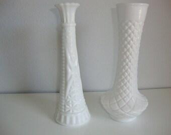 Milk Glass Flower Vases. Two Bud Vase, Pair Flower Vases