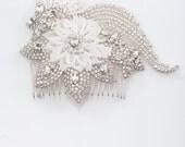 wedding hair comb - rhinestone bridal hair comb - beaded hair comb, INDI
