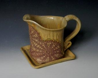 Handmade Lace Impressed Ceramic Gravy Boat