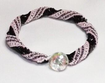 Black and Pink Bracelet - Handmade Beaded Russian Spiral Bracelet variation
