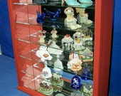 Antique Red Firemans Gift Wood Glass Wall Curio Cabinet Shelf or Tabletop Display