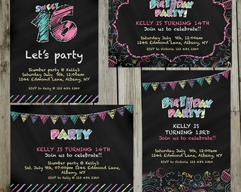 Chalkboard Party digital PRINTABLE INVITATION- Originals design elements