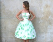 Bombshell 50s strapless full skirt party dress- 1950s green and white chiffon prom dress-small
