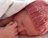 Salmon Pink Newborn Baby Beanie, Photo Prop, Infant Hat